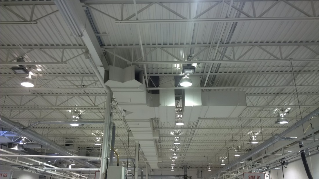 LED lights at Etratech factory Burlington DC Microgrid project large view
